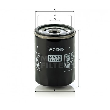 Alyvos | Tepalo filtras MANN-FILTER W 713/35 | MOVIDA.LT
