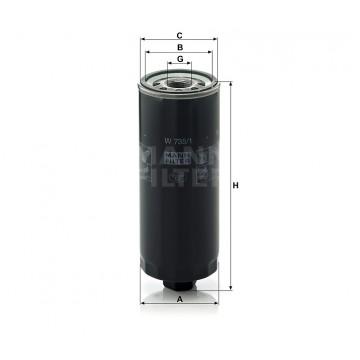 Alyvos | Tepalo filtras MANN-FILTER W 735/1 | MOVIDA.LT