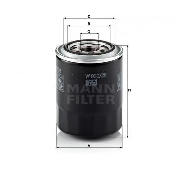 Alyvos | Tepalo filtras MANN-FILTER W 930/26 | MOVIDA.LT