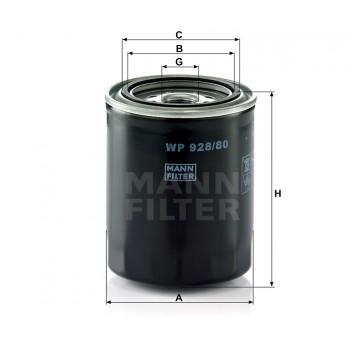 Alyvos | Tepalo filtras MANN-FILTER WP 928/80 | MOVIDA.LT