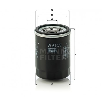 Alyvos | Tepalo filtras MANN-FILTER W 610/3 | MOVIDA.LT