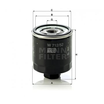 Alyvos | Tepalo filtras MANN-FILTER W 712/52 | MOVIDA.LT