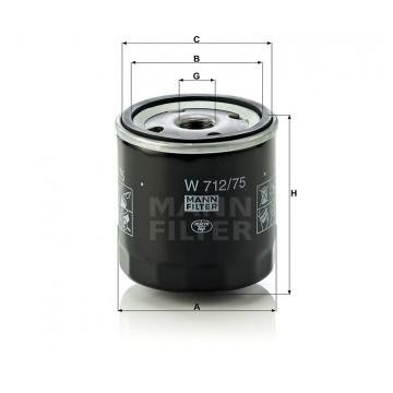 Alyvos | Tepalo filtras MANN-FILTER W 712/75 | MOVIDA.LT
