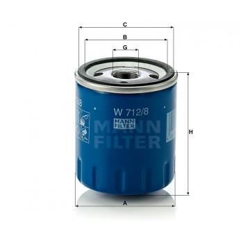 Alyvos | Tepalo filtras MANN-FILTER W 712/8 | MOVIDA.LT