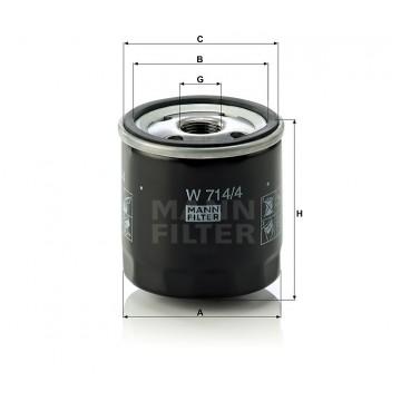 Alyvos | Tepalo filtras MANN-FILTER W 714/4 | MOVIDA.LT