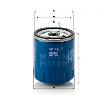 Alyvos | Tepalo filtras MANN-FILTER W 716/1 | MOVIDA.LT