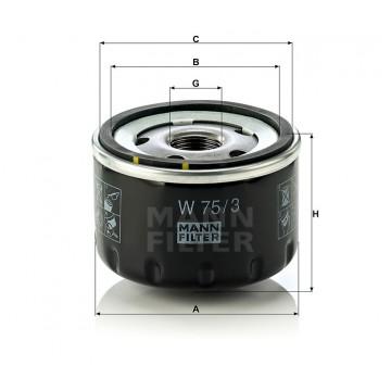 Alyvos   Tepalo filtras MANN-FILTER W 75/3   MOVIDA.LT