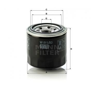 Alyvos | Tepalo filtras MANN-FILTER W 811/80 | MOVIDA.LT