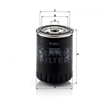 Alyvos | Tepalo filtras MANN-FILTER W 830/1 | MOVIDA.LT