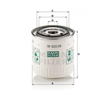 Alyvos | Tepalo filtras MANN-FILTER W 920/38 | MOVIDA.LT