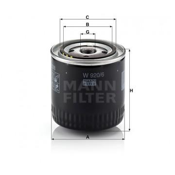 Alyvos | Tepalo filtras MANN-FILTER W 920/6 | MOVIDA.LT